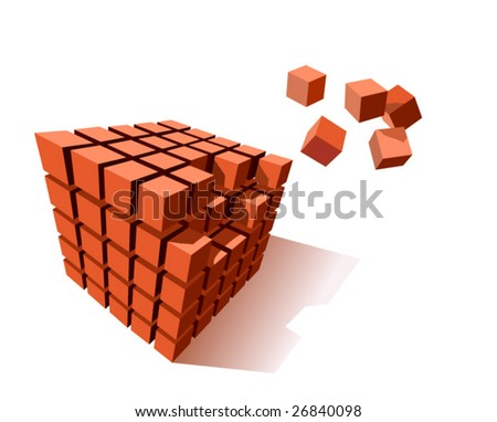Cube Puzzle Vector - stock vector