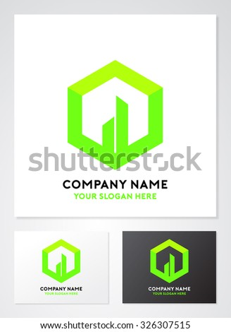 Cube real estate abstract vector logo template