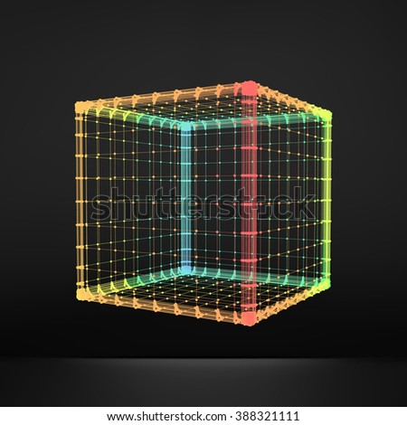 Cube. Regular Hexahedron. Platonic Solid. Regular, Convex Polyhedron. 3D Connection Structure. Lattice Geometric Element for Design. Molecular Grid. Wireframe Mesh Polygonal Element.  - stock vector