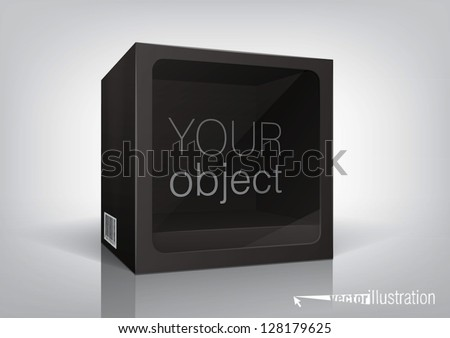 Cube-shaped black package with a transparent plastic window - stock vector