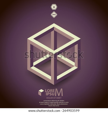 Cube skeleton,illustration - stock vector