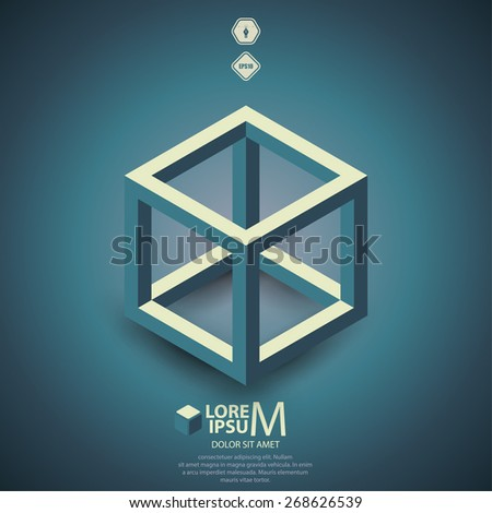 Cube skeleton, illustration - stock vector