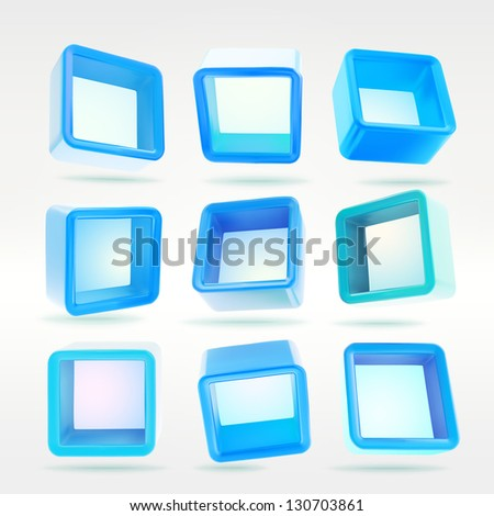 Cube square colorful app blue button boxes in nine foreshortenings, eps10 vector design elements set - stock vector