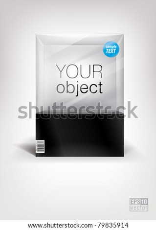 Cube transparent package, front view. Eps10 vector - stock vector
