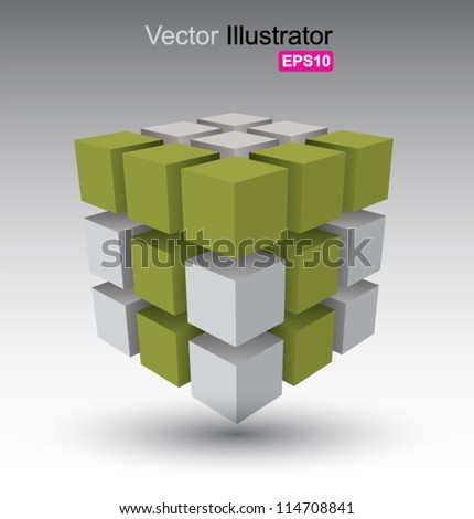 Cube vector, can use for business concept, education , brochure object. - stock vector