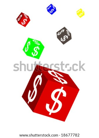 cube with dollar symbol - stock vector