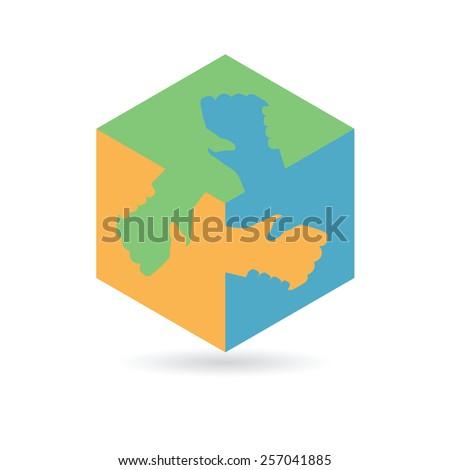 Cube with handshake symbol, Vector - stock vector