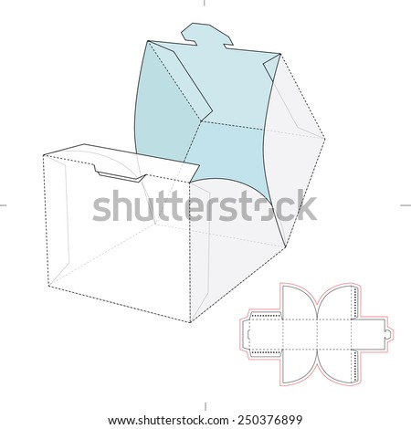 Cube Wrap Box with Die Cut Template - stock vector
