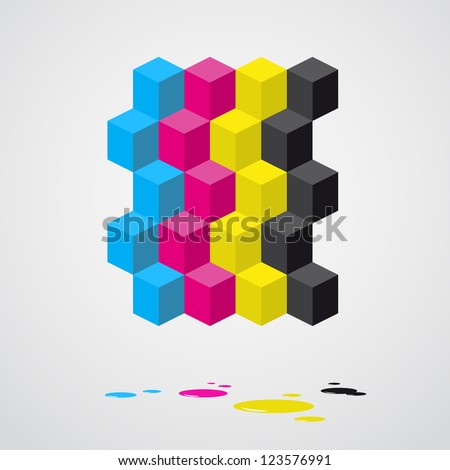 Cubes background - vector illustration - Cyan, magenta, yellow, black color - CMYK color theme - stock vector