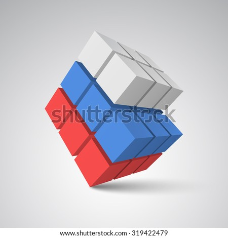 Cubes. 3d vector. White cube. Blue cube. Red cube - stock vector