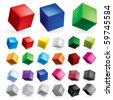 Cubes in various combinations of position for training - stock vector
