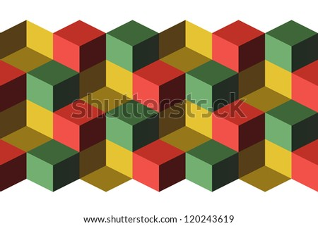 Cubes, infinite background, green, yellow and red cubes - stock vector