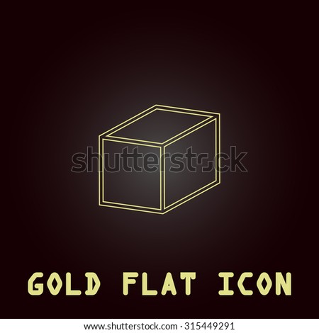 Cubes. Outline gold flat pictogram on dark background with simple text.Vector Illustration trend icon