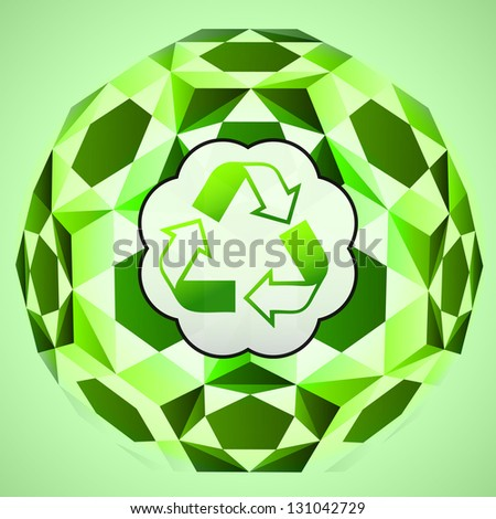 cubic green layout with recycle sign vector illustration - stock vector