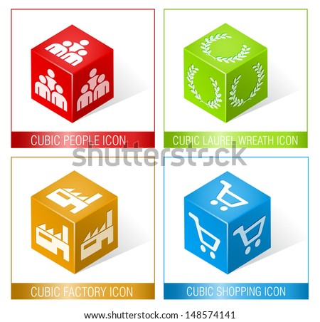 CUBIC PEOPLE, LAUREL WREATH, FACTORY AND SHOPPING ICONS 3 / Set of three dimensional icons.  - stock vector