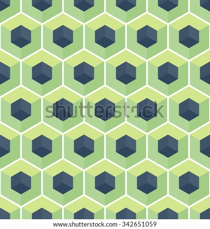 Cubic seamless Pattern. Geometric background of hexagons. Christmas background. Grid Pattern. Abstract colorful Background. Isometric background. Winter background.  Vitrage. Vector regular Texture. - stock vector