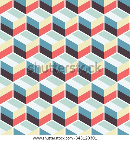 Cubic seamless Pattern. Geometric background of hexagons. Grid Pattern. Abstract Background. Isometric background. Three-dimensional Pattern. Zigzag background. Vintage colors. Vector regular Texture. - stock vector