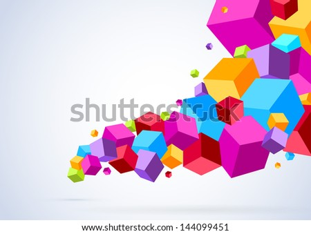 Cubic tornado wave - abstract bright background. Vector illustration - stock vector