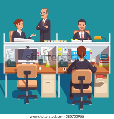 Cubicle office work space with employees at the desks. Flat style modern vector illustration. - stock vector