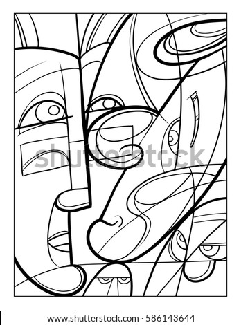 Cubist Faces Fun Coloring Page Vector Stock Vector 586143644 ...