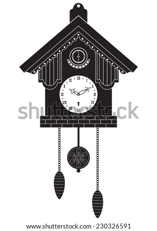 Cuckoo clocks. Vector silhouette isolated on white background. - stock vector