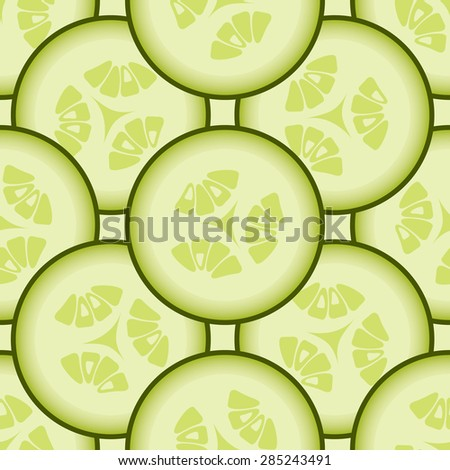 Cucumber background, vector seamless pattern - stock vector