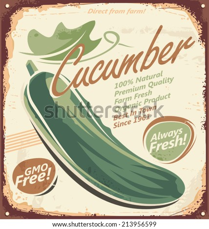 Cucumbers - Food and drink concept on retro tin sign. Vintage poster design with cucumber. - stock vector