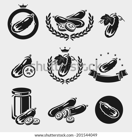 Cucumbers set. Vector