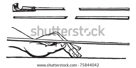Cue stick and left hand cue stick position, Billiards, vintage engraved illustration of Cue stick and left hand cue stick position, Billiards, isolated on a white background. - stock vector