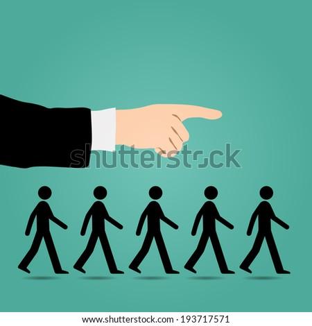 Cues walk forward. - stock vector