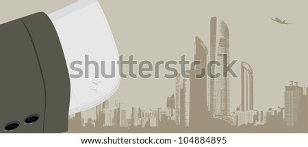 Cuff shirt with trendy cufflinks. Business background. Vector