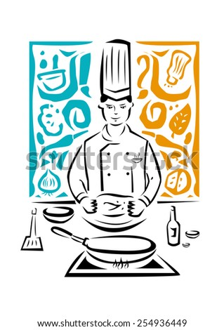 Culinary Arts or Hospitality industry Vector Illustration. An Asian Chef Prepares to Cook and he is surrounded by abstract ingredients symbols. - stock vector