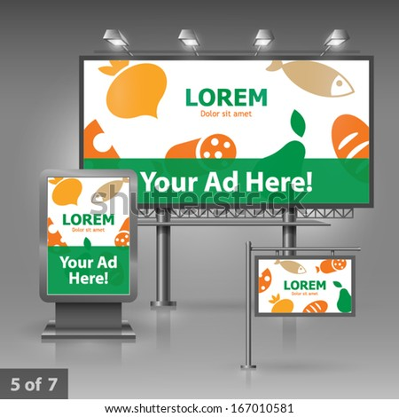 Culinary outdoor advertising design for company with food, fruits and vegetables. Elements of stationery.