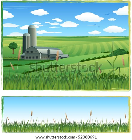 Cultivated green field - stock vector