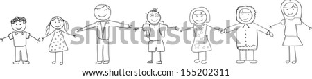 Cultural Diversity People Holding Hands Doodle Sketch - stock vector