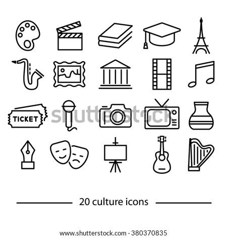 Culture icons. Culture symbols. Art and culture. Line icons. - stock vector
