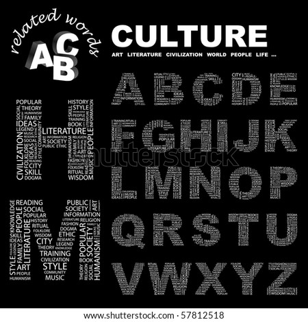 CULTURE. Vector letter collection. Illustration with different association terms.