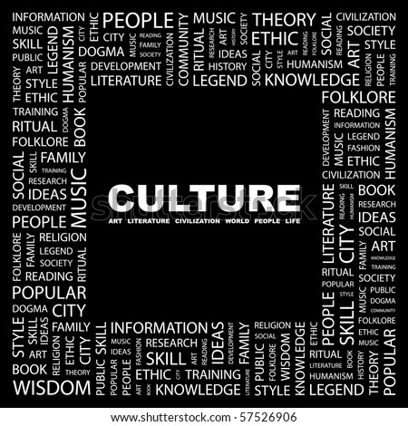 CULTURE. Word collage on black background. Illustration with different association terms. - stock vector