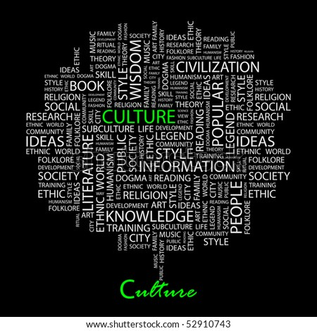 CULTURE. Word collage on black background. Vector illustration. - stock vector