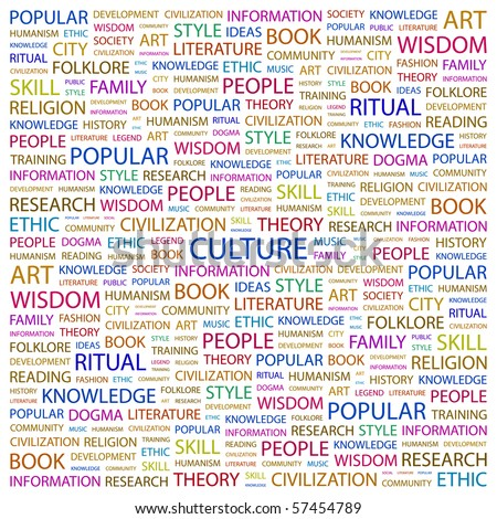 CULTURE. Word collage on white background. Illustration with different association terms.