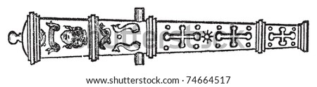 Culverin or medieval cannon old engraving. Old engraved illustration of of a culverin weapon. - stock vector