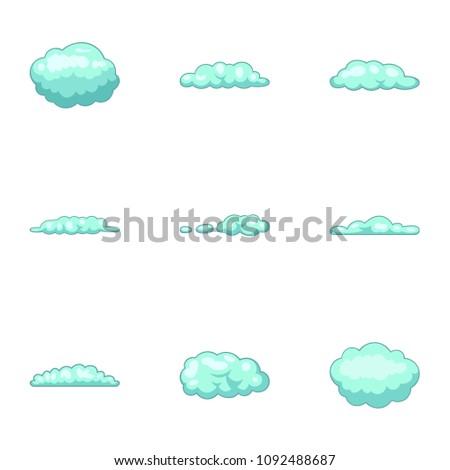 Cumulus Cloud Icons Set Cartoon Set Stock Vector 1092488687