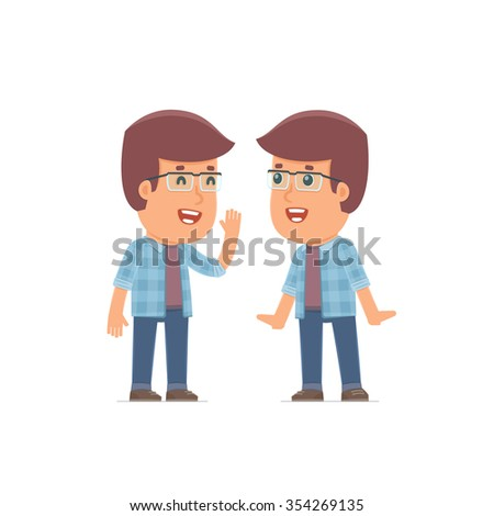 Cunning Character Freelancer gossiping and telling secret to his friend. Poses for interaction with other characters from this series - stock vector