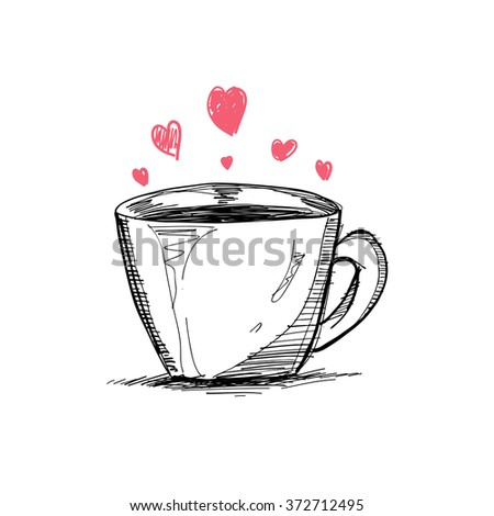 cup and heart, vector sketch illustration - stock vector