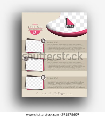 Cup Cake Back Back Flyer Template - stock vector