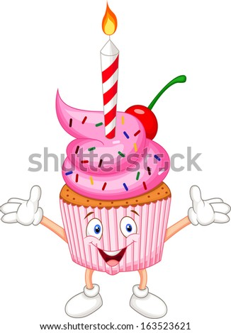 Cup cake cartoon with candle  - stock vector