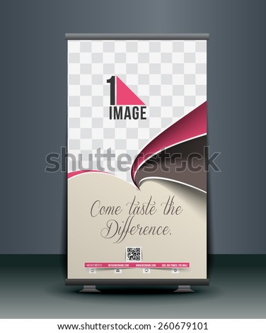 Cup Cake Roll Up Banner Design - stock vector