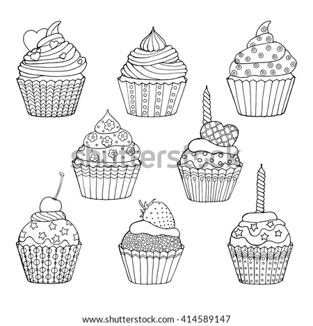 Cup Cake Set Decorated Cupcakes Hearts Stock Vector 414589147 ...