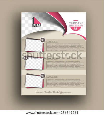 Cup Cake Shop Back Template - stock vector