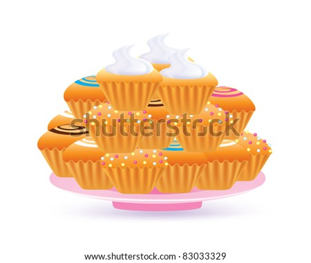 cup cakes on a plate - stock vector